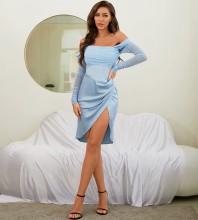 Blue Slit Mesh Midi Long Sleeve Off Shoulder Bodycon Dress HB7610-Blue