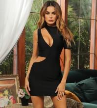 Black Cut Out Asymmetrical Mini Short Sleeve High Neck Bandage Dress HB7618-Black