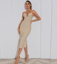 Cream Slit Plain Mini Sleeveless Strappy Bandage Dress HB7622-Cream