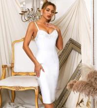 White Slit Tassels Midi Sleeveless Strappy Bandage Dress HB7623-White