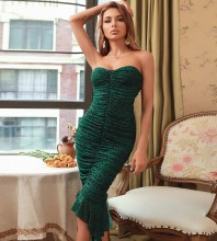 Green Wrinkled Fishtail Midi Sleeveless Strapless Bodycon Dress HB7630-Green