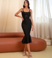 Black Distinctive Fishtail Midi Sleeveless Strappy Bandage Dress HB7632-Black