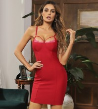 Red Plain Lace Mini Sleeveless Strappy Bandage Dress HB7634-Red