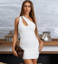 White Cut Out Wrinkled Mini Sleeveless One Shoulder Bandage Dress HB7636-White