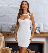 White Backless Plain Mini Sleeveless Strappy Bandage Dress HB7645-White