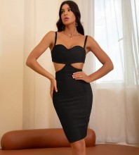Black Backless Cut Out Midi Sleeveless Strappy Bandage Dress HB7648-Black