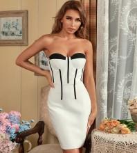 Black Backless Striped Mini Sleeveless Strapless Bandage Dress HB7653-Black