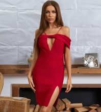 Red Slit Hollow out Mini Short Sleeve Strappy Bandage Dress HB7661-Red