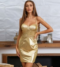 Gold Backless Striped Mini Sleeveless Strappy Bodycon Dress HB7670-Gold