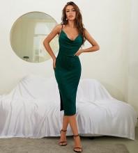 Green Backless Slit Midi Sleeveless Strappy Bodycon Dress HB7672-Green