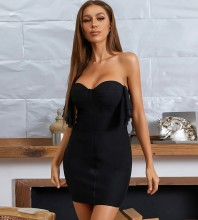 Black Backless Frill Mini Sleeveless Strapless Bandage Dress HB7674-Black