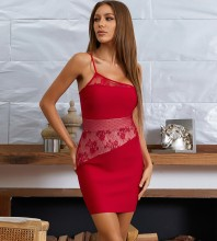 Red Asymmetrical Lace Mini Short Sleeve One Shoulder Bandage Dress HB7683-Red