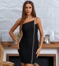 Black Asymmetrical Chain Mini Sleeveless One Shoulder Bandage Dress HB7691-Black