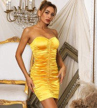 Gold Backless Wrinkled Mini Sleeveless Strapless Bodycon Dress HB7767-Gold