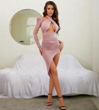 Pink Asymmetrical Wrinkled Midi Long Sleeve Halter Bodycon Dress HB7771-Pink