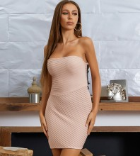 Pink Backless Striped Mini Sleeveless Strapless Bandage Dress HB7774-Pink
