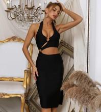 Black Backless Cut Out Midi Sleeveless Halter Bandage Dress HB7776-Black