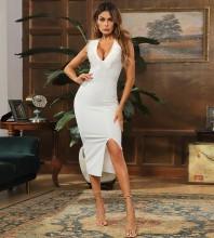 White Slit Tassels Midi Sleeveless V Neck Bandage Dress HB7800-White