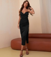 Black Slit Backless Midi Sleeveless Strappy Bodycon Dress HB7810-Black