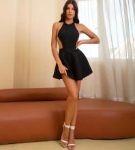 Black Tie Backless Mini Sleeveless Halter Bandage Dress HB7833-Black