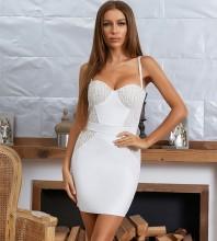 White Backless Lace Mini Sleeveless Strappy Bandage Dress HB7933-White