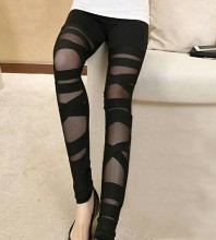 Black Mesh Fashion Bandage Pants HD0363-Black