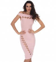 Fashion Off Shoulder Sleeveless Mini Pink Cutout Bandage Dress HD387-PINK