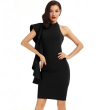 Black Halter Sleeveless Knee Length Ruffles Elegant Bodycon Dress HD398-Black