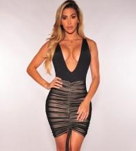 Black V Neck Sleeveless Mini Mesh Wrinkled Wholesale Bodycon Dress HD401-Black