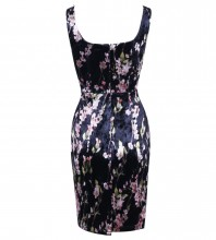 Black Strapy Sleeveless Over Knee Foil Printing Party Bodycon Dress Set HI1008-Black