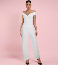 White Off Shoulder Sleeveless Over Knee Fashion Bodycon Jumpsuits HI1015-White