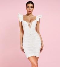 White Strappy Sleeveless One Piece Ruched Ruffles Fashion Bodycon Dress HI1025-White