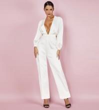 White V Neck Long Sleeve Maxi Fashion Bodycon Jumpsuits HI1027-White