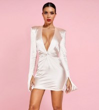 White V Neck Long Sleeve Mini Sleeves Split Fashion Bodycon Dress HI1030-White