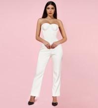 White Strapless Sleeveless Maxi Backless Bodycon Jumpsuits HI1033-White