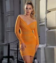 Orange V Neck Long Sleeve Mini Chiffon Bodycon Dress HI1036-Orange