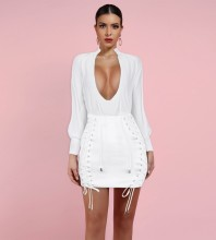 White V Neck Long Sleeve Mini Lace Up Bodycon Dress HI1039-White