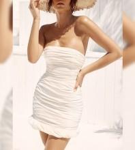 White Strapless Sleeveless Mini Striped Bodycon Dress HI1044-White