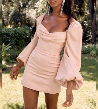 Nude Pink Backless Mini Long Sleeve Square Collar Bodycon Dress HI1048-Nude-Pink