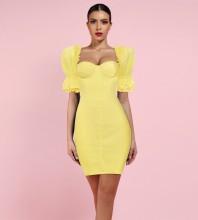 Yellow Mini Short Sleeve Square Collar Bodycon Dress HI1049-Yellow