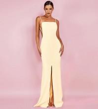 Yellow Slit Backless Maxi Sleeveless Strapy Bodycon Dress HI1055-Yellow