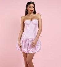 Pink Puff Mini Sleeveless Strapless Bodycon Dress HI1061-Pink