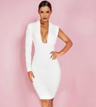Mini Asymmetrical White V Neck One Sleeve Bodycon Dress HI1068-White