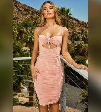 Over Knee Cutout Backless Pink Strapy Sleeveless Bodycon Dress HI1071-Pink