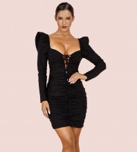 Black Lace Up Mini Long Sleeve Square Collar Bandage Dress HI1076-Black