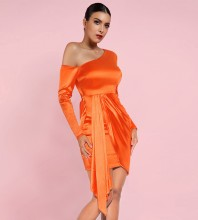 Orange Asymmetrical Maxi Long Sleeve One Shoulder Bodycon Dress HI1080-Orange