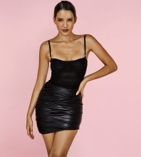 Black Wrinkled 2 Piece Mini Sleeveless Strapy Bodycon Set HI1089-Black