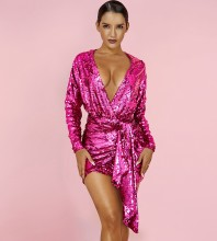 Rose 2 Piece Sequins Mini Long Sleeve V Neck Bodycon Set HI1098-Rose