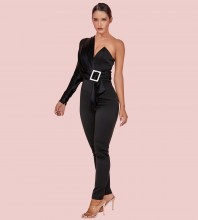 Black Asymmetrical Metal Ornamental Buckle Maxi Long Sleeve One Shoulder Bodycon Jumpsuits HI1109-Black