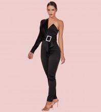 Black Asymmetrical Metal Ornamental Buckle Maxi Long Sleeve One Shoulder Bodycon Jumpsuits HI1109-Black